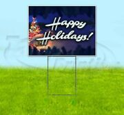 Happy Holidays 18x24 Yard Sign Corrugated Plastic Bandit Lawn Business Christmas