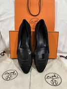 Bnib Auth Hermes Nice Ballerina Flat Suede Black Flat Shoes Sz. 37 Sold Out