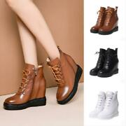 Womens Ladies Fashion Leather Zippers Hidden Wedge High Heel Ankle Boots Shoes