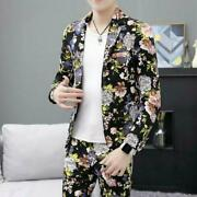 Fashion Mens Blazer Suits One Button Floral Printing Youth Jacket Pants T-shirt