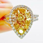 2.29ct 100 Natural Color Fancy Yellow And White Diamond Pear Shape Solitaire Ring