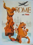 Twa Rome Italy Vintage 1958 Travel Airlines Poster David Klein 25x40 Linen Nm