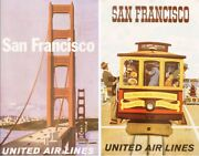United Airlines San Francisco 1964 X 2 Vintage Travel Poster Stan Galli 25x40 Nm