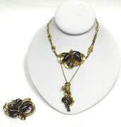 Victorian Necklace And Brooch Garnet And Seed Pearl 14k Yellow Gold