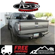 Add Honeybadger Rear Bumper W/ Tow Hooks Black For 2009-2014 Ford F150 Truck