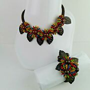 Vintage Miriam Haskell Wood Necklace And Bracelet Set By Frank Hess 1940s Rare