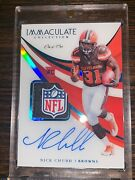 2018 Immaculate Nick Chubb Rookie Auto Nfl Shield 1/1 Browns Player Worn Patch