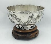 Antique Chinese Export Silver Applied Birds And Prunus Decorationswahshing Canton