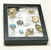 Lot 9 Vintage Antique Victorian Gold Silver Ladies Women Pin Brooch Jewelry