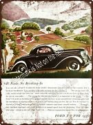 1936 Ford V-8 2-door Country Road Garage Shop Man Cave Metal Sign 9x12 A466