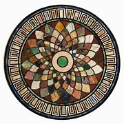 30 Marble Center Table Top Pietra Dura Marquetry Handicraft With Marble Stand