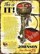 1951 Johnson Sea Horse 25 Hp Outboard Motor Boat Man Cave Sign 9x12 A493