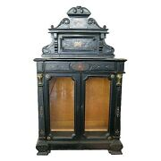 Victorian American Ebonized And Inlaid Music Cabinet W/glass Doors 1391