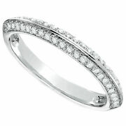 1/2 Carat Real Diamond Double Row Anniversary Band In Solid 10k White Gold -igi-