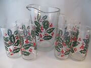 Crisa Glassware Luxus Holly Berry 7pc Beverage Set Mib Pitcher And Tumblers Mexico