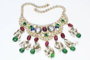 Kenneth Jay Lane Kjl 1990andrsquos Green Red Cabochon Glass Crystal Tassel Necklace