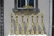 Large Gothic Candlesticks And Altar Cross Set