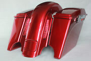 """Ember Red Sunglo 4"""" Bag Cvo Rear End For 2008 And Older Harley -road King Glide St"""