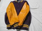 Centralia Letter Jacket Purple With Gold Sleeves With 2 Gold Stripes