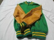 Centralia Letter Jacket Kelly Green With Gold Sleeves With 2 Gold Stripes