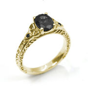 Engagement Ring Trinity Knot Oval Black Diamond 4 Claw 9ct Gold Uk Hallmarked