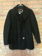 Vintage Navy Style Pea Coat By Boat Works Made In The Usa Medium Anchor Buttons