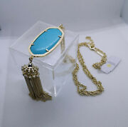 New Kendra Scott Rayne Long Pendant Necklace In Turquoise / Gold