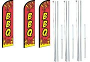 Bbq Red Windless Flag With Hybrid Pole Set 3 Pack
