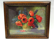 Art- Qty 2 Prints In Antique Frame Poppies By M. Streckenbach And 1903 Photograph