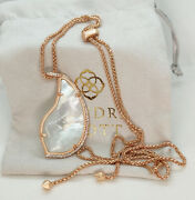 New Kendra Scott Theodora Long Pendant Necklace In Ivory Pearl / Rose Gold