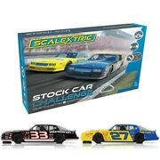 Scalextric Chevy Monte Carlo Stock Car Challenge 1/32 Slot Car Set Free Shipping