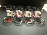 Vintagerare1960's Playing Cards Rock Tumbler 12oz Glasses W/coasters Exc
