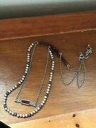 Estate Long Silvertone Rolo Chain With Cranberry And Bumpy And Smooth Beads And 2nd