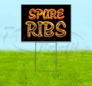 Spare Ribs 18x24 Yard Sign With Metal Stake Corrugated Bandit Bbq Usa