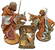 11.8 Indoor/outdoor Fontanini Nativity Set 5 Pcs Holy Family And Animals Figures