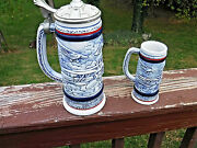 Vintage Avon History Of Early Flight Stein Set 10 And Mini 5.3 Steins 1981-82