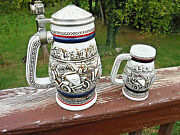 Vintage Avon Early Automobiles Stein Set 8 3/4 And Mini 4 7/8 Steins 1979 And 82