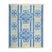 8and039x10and039 Blue Hand Knotted Pure Wool Peshawar With Southwestern Motifs Rug G52408