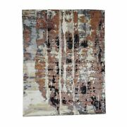 8and039x10and0391 Abstract Design Wool And Silk Hilo Pile Handknotted Rug G39620