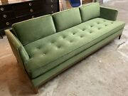 Super Cool Mid Century Style Sofa In New Green Velvet Soft Comfy Made In L.a.