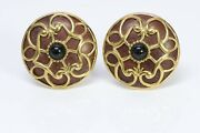Isabel Canovas 1980's Gold Plated Wood Round Earrings