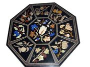 42 X 42 Black Marble Coffee Table Top Inlay Handmade Work For Home Decor