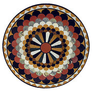 42 Black Marble Center Round Table Top Pietra Dura Inlay Home Garden Decor