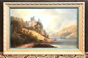Antique Vintage 19c Continental Painting Oil/canvasrheinstein Castle Germany