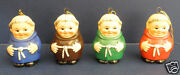 Four 4 Goebel Friar Tuck Ornaments- Brown- Red- Green- Blue