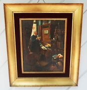 Very Old Antique Restored Painting Of Old Man In Study Or Library Framed