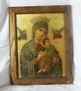 Amazing Russian Print Of The Virgin Mary Holding Baby Jesus Christian Icon Art