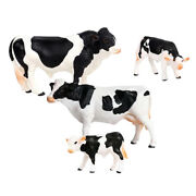 4pcs Pvc Solid Farm Animal Figurines Toy Miniatures Realistic Cow Playset