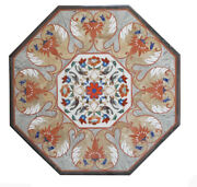 42 Black Dining Table Top Marble Inlay Pietra Dura Inlay Marquetry Work Decor