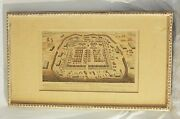 Antique Roman Fort Blueprint Map Framed On Wooden Frame Very Rare Collectible